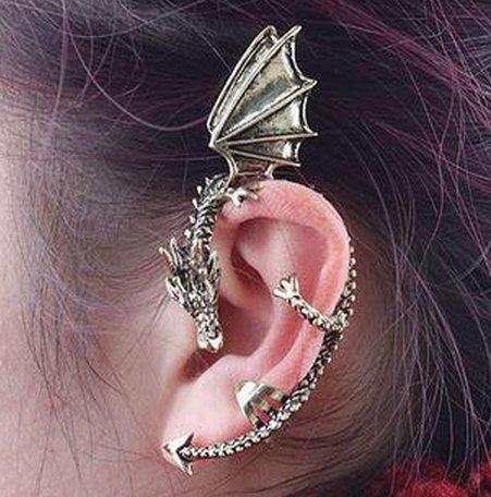 歐美飾品朋克風大氣東方神龍個性龍形耳環耳掛單個價耳飾 龍耳環 夾扣