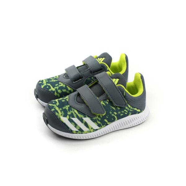 HUMAN PEACE:adidasFortaRunCFI運動鞋訓練鞋魔鬼氈童鞋灰色綠色小童BY8980no450