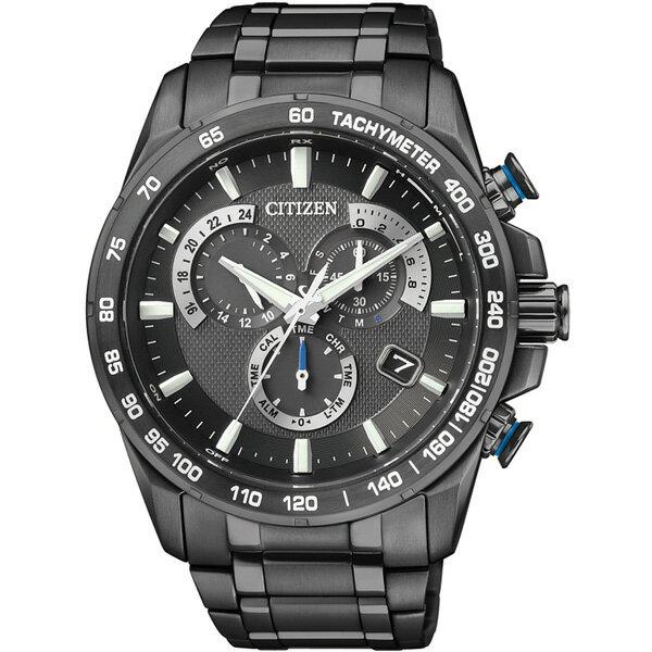 CITIZEN星辰AS8025-57E炫黑鈦風翱翔電波鈦金屬腕錶/黑面43mm