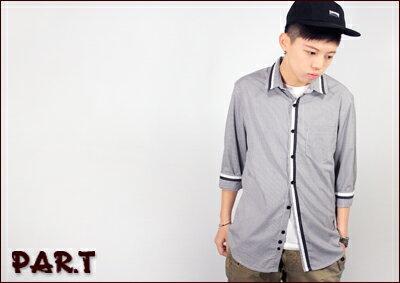 (PAR.T)嚴選服飾-細格直條七分袖衫 1