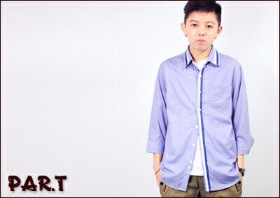(PAR.T)嚴選服飾-細格直條七分袖衫 0