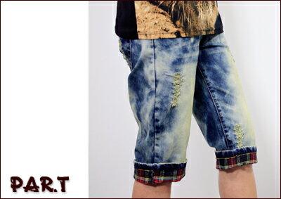 (PAR.T)嚴選服飾-星星紅格反折七分褲-藍 - 限時優惠好康折扣