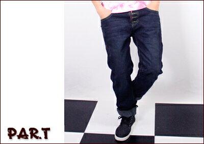 (PAR.T)嚴選服飾-接皮拉鍊牛仔褲-藍 - 限時優惠好康折扣