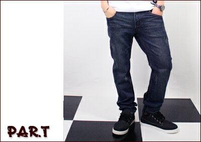 (PAR.T)嚴選服飾-鬼洗造型合身牛仔褲-藍 - 限時優惠好康折扣