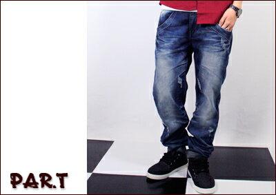 (PAR.T)嚴選服飾-鬼洗刷色刷破牛仔褲-藍 - 限時優惠好康折扣