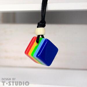 (PAR.T)彩虹商品-方塊項鍊-淺藍