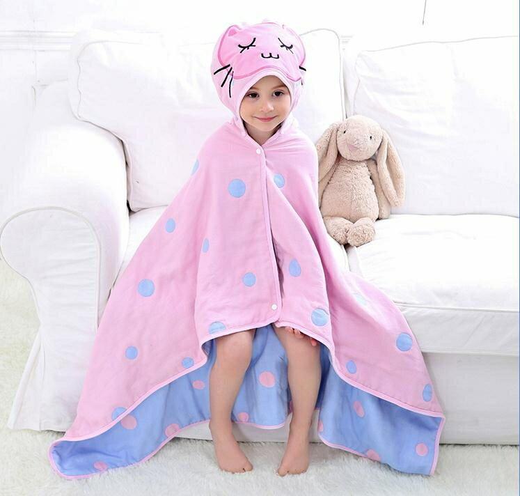 兒童浴袍 兒童浴巾斗篷 帶帽新生兒寶寶純棉紗布披風嬰兒洗澡吸水卡通浴袍 1