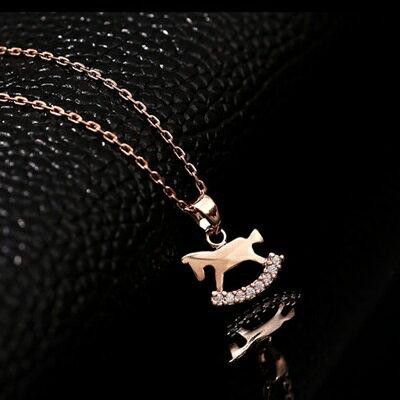 玫瑰金項鍊 鑲鑽純銀吊墜 ~可愛 小木馬 七夕情人節 女飾品73dw34~ ~~米蘭 ~