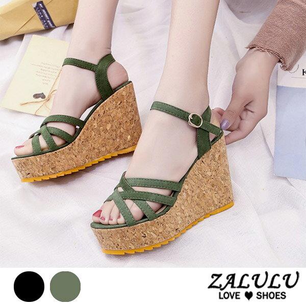 ZALULU愛鞋館7DE084預購美腿比例女王厚底鞋坡跟素面涼鞋-黑綠-35-39