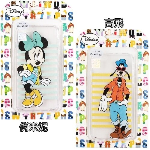 【Disney】iPhone6 6S Plus 5.5吋 橫條系列 彩繪透明保護軟套