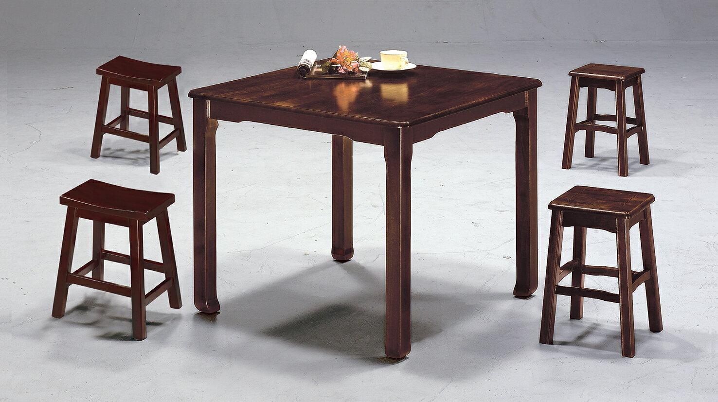 ~ IS空間美學~唐式實木西餐桌三種尺寸  馬鞍高椅 1桌4椅