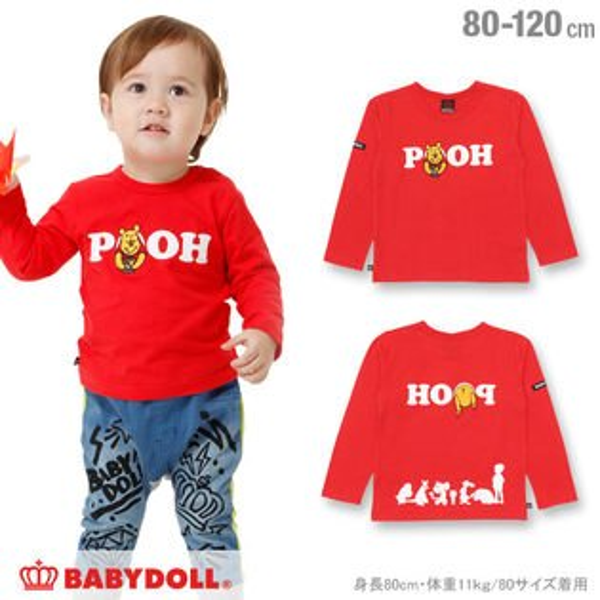 日本BABYDOLL小熊維尼幼兒長袖T恤CBT-25309352。1色(2376)-日本必買免運代購