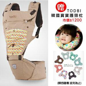 【限量贈市價$1200護頸枕】【安琪兒】韓國【Todbi】新一代有機棉氣囊坐墊式背巾(淺褐) 0