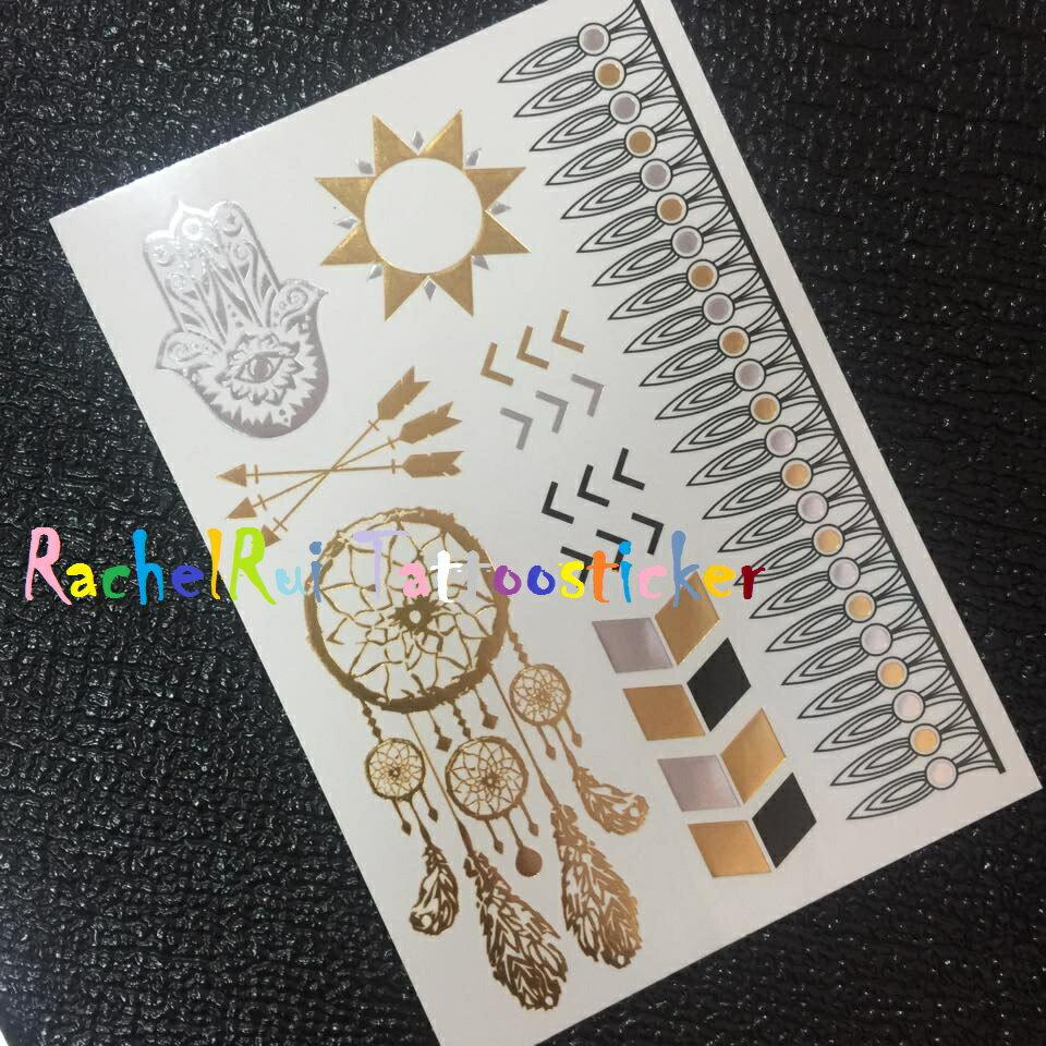 ★RachelRui★金屬紋身貼紙,印地安捕夢網