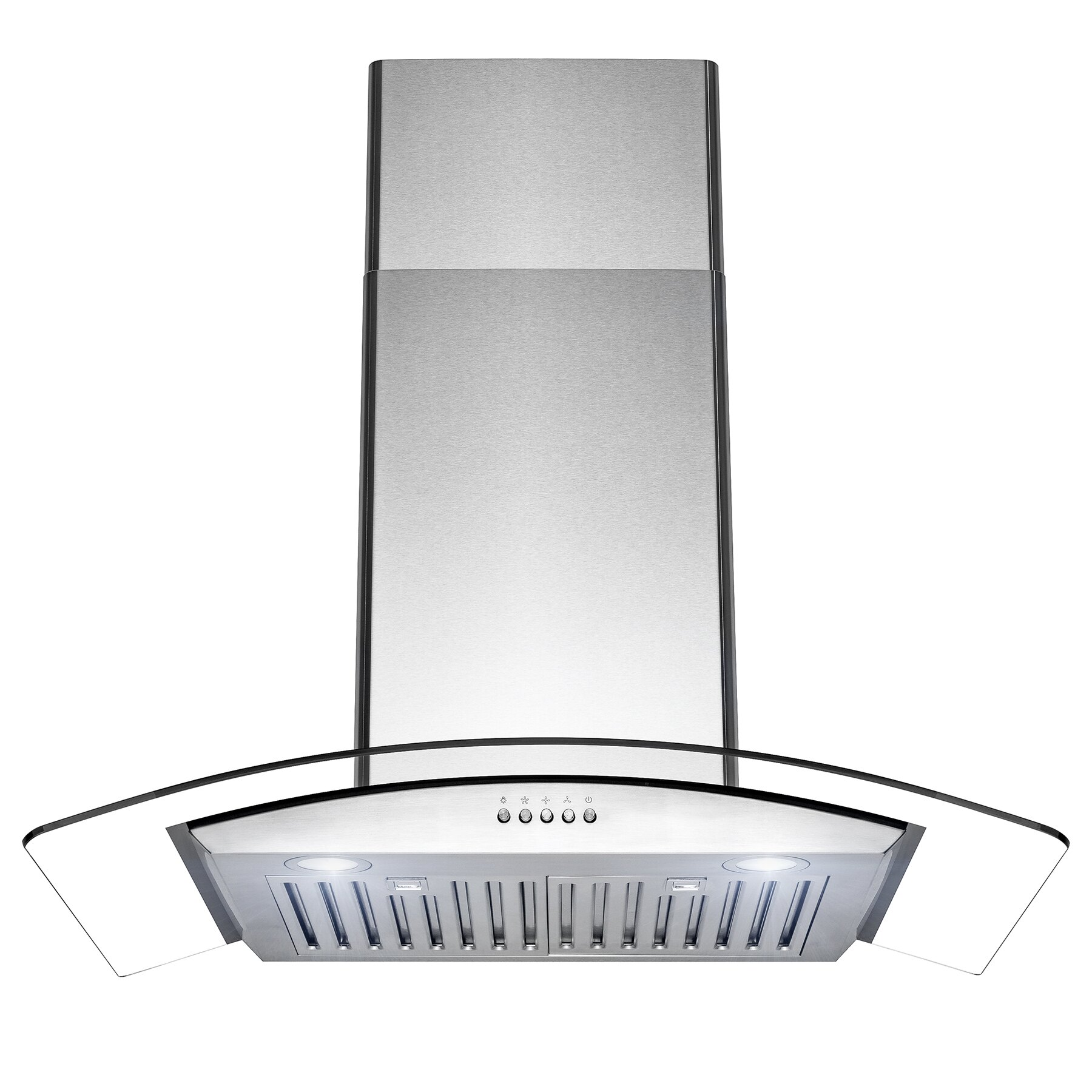 """AKDY 30"""" Wall Mount Stainless Steel Tempered Glass Push Panel Kitchen Range Hood Cooking Fan 0"""
