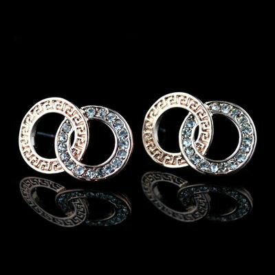 ~玫瑰金耳環鑲鑽純銀耳飾~ 撞色環環相扣情人節生日 女飾品73hz59~ ~~米蘭 ~