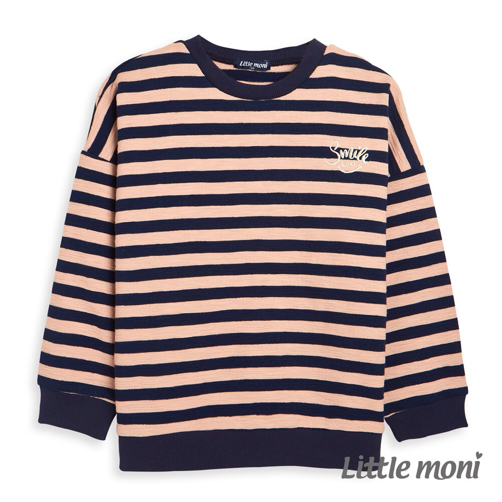 Little moni 條紋寬版上衣 -粉紅 0