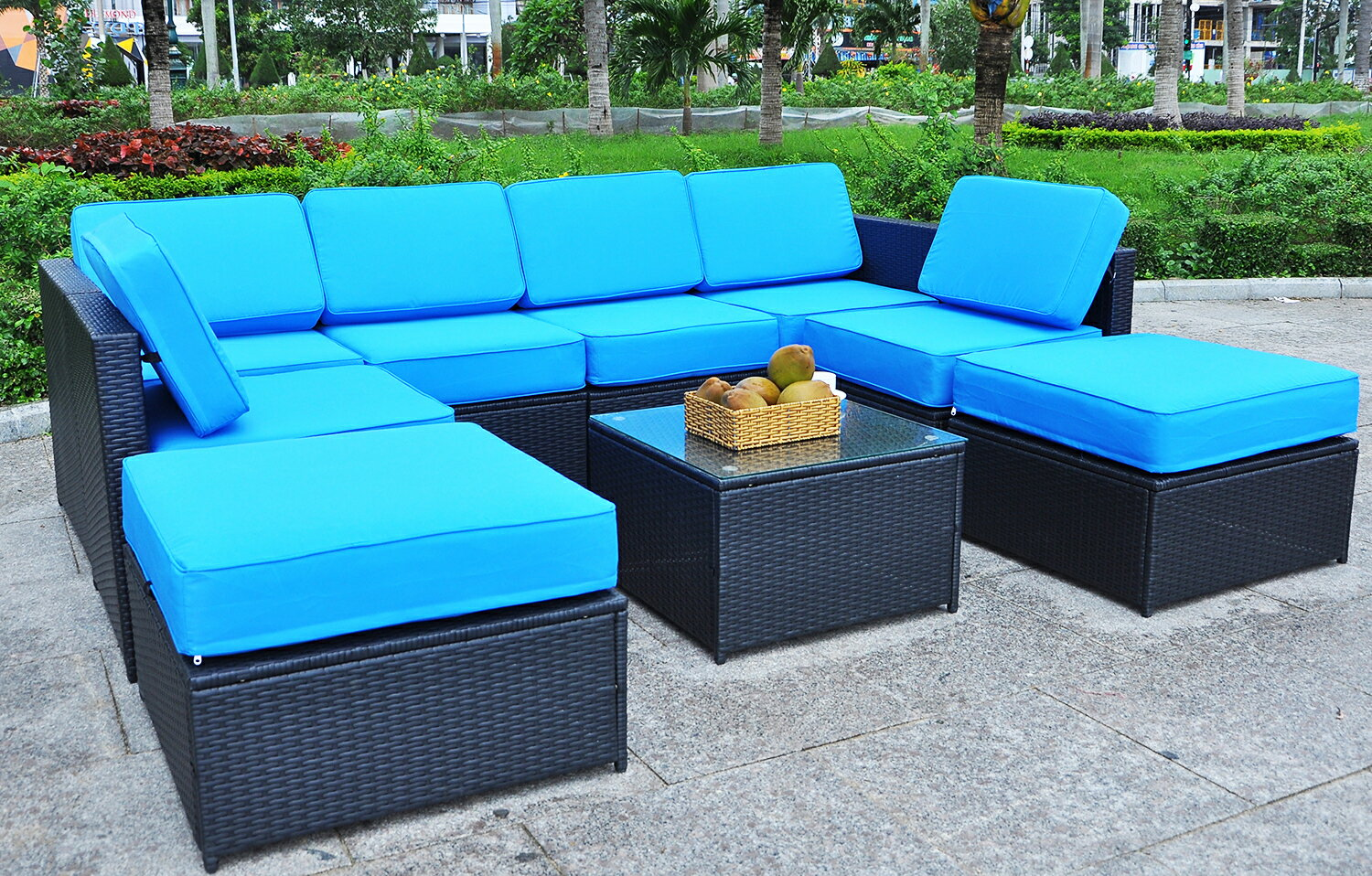 Mcombo Black Wicker Patio Sofa Steel Outdoor Furniture Sectional All Weather Light Weight Conversation