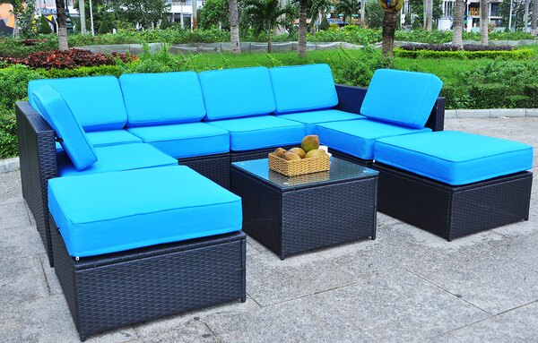 Mcombo Black Wicker Patio Sofa Steel