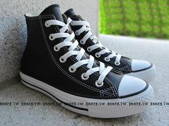 [22cm]《限量5折》【170413、1S581】CONVERSE 經典 電繡 基本款 荔枝皮革 威爾史密斯 高筒 黑色