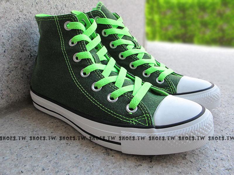[24.5cm]《限量5折》Shoestw【1134W170071】CONVERSE 帆布鞋 ALLSTAR 螢光水洗 高筒帆布 綠色 女生 0