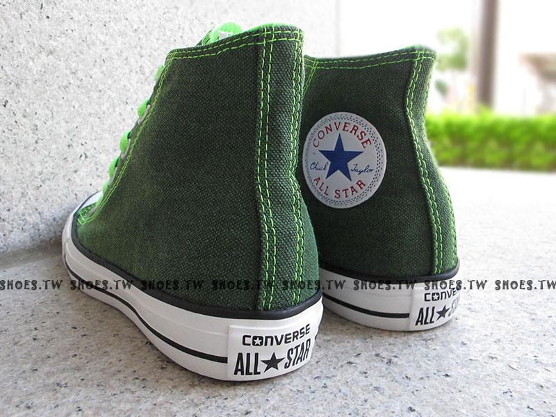 [24.5cm]《限量5折》Shoestw【1134W170071】CONVERSE 帆布鞋 ALLSTAR 螢光水洗 高筒帆布 綠色 女生 2