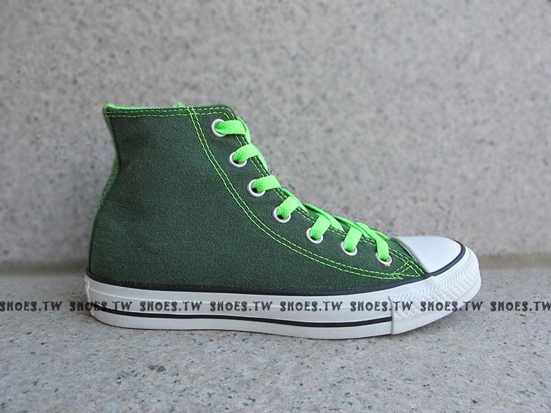 [24.5cm]《限量5折》Shoestw【1134W170071】CONVERSE 帆布鞋 ALLSTAR 螢光水洗 高筒帆布 綠色 女生 1