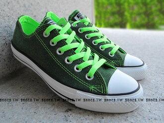 [24.5cm]《限量5折》鞋殿【1134W170073】CONVERSE 帆布鞋 ALLSTAR 螢光水洗 低筒帆布 綠色 女生