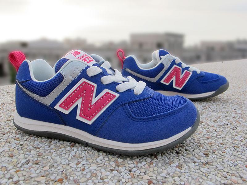 《超值6折》Shoestw【KS574BP】NEW BALANCE 574 復古慢跑鞋 童鞋 運動鞋 中童 麂皮 藍紫桃N 免綁帶