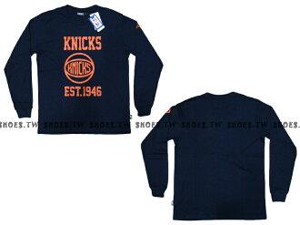 Shoestw【8460108004】NBA 薄長袖 2014 純棉 EST 英文字 紐約 尼克隊 深藍色