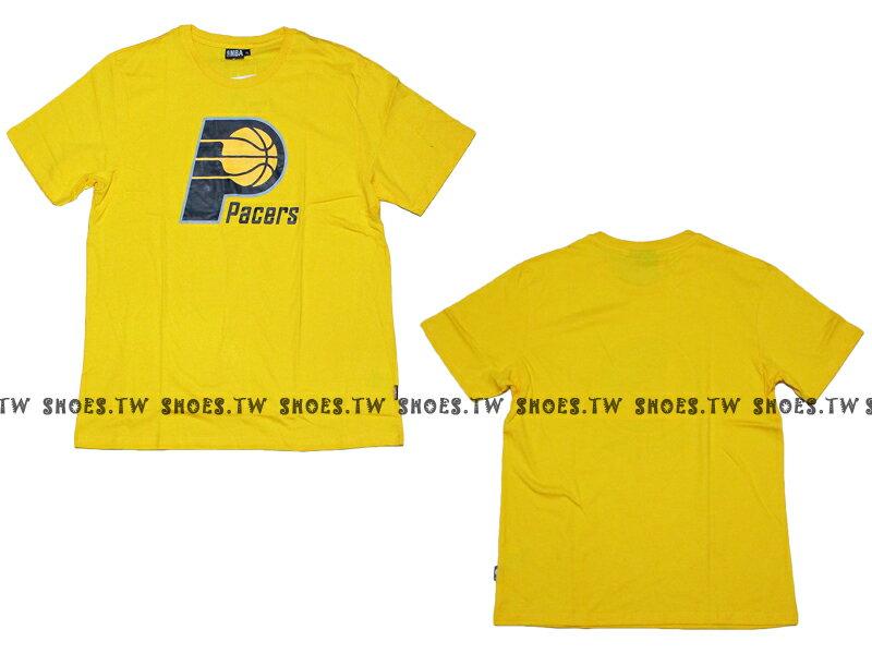 《換季折扣》Shoestw【8330216013】NBA 短袖 T恤 基本款 隊徽LOGO 100%純棉 印地安納 溜馬隊 黃色