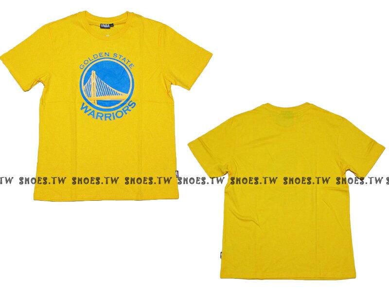 《換季折扣》Shoestw【8330216023】NBA 短袖 T恤 基本款 隊徽LOGO 100%純棉 金州 勇士隊 黃色