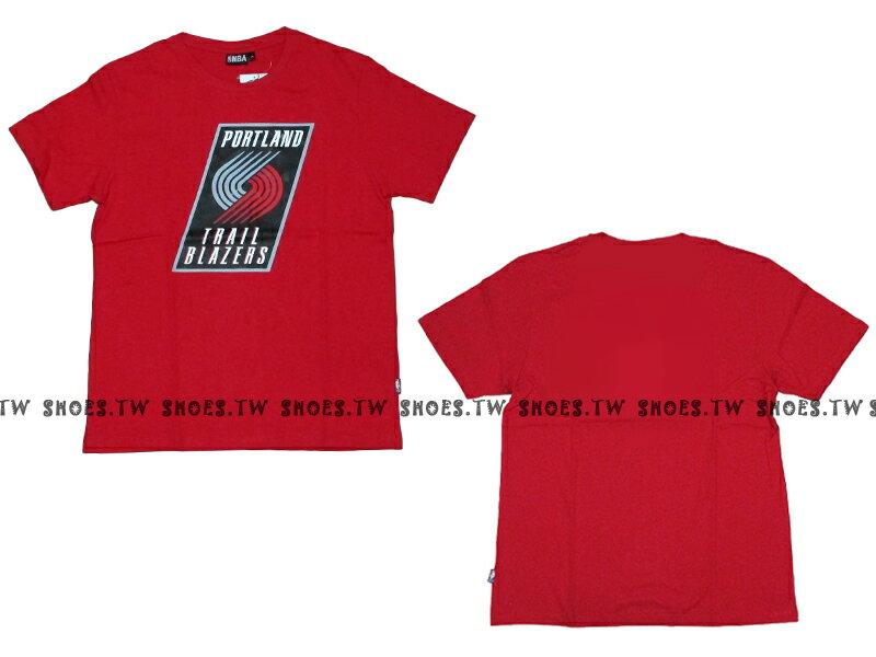 《限時5折》Shoestw【8330216027】NBA 短袖 T恤 基本款 隊徽LOGO 100%純棉 波特蘭 拓荒者隊 紅色