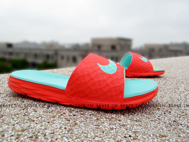 Shoestw【705474-833】NIKE BENASSI SOLARSOFT SLIDE 拖鞋 螢光桃 男女都有
