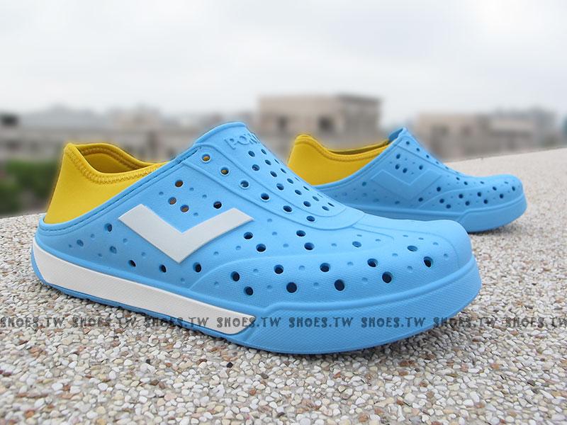 《限時特價79折》Shoestw【52U1SA64BL】PONY 洞洞鞋 可踩跟 新款 懶人拖 水藍V  男女生都有