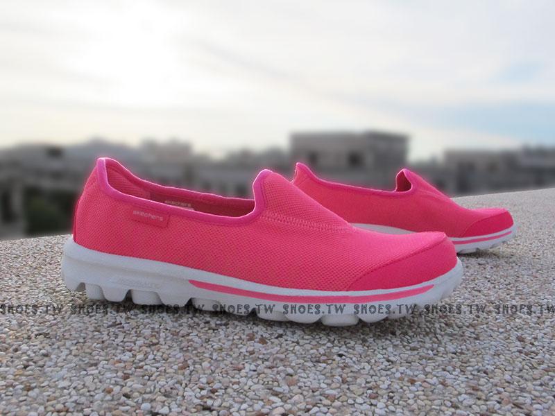[24.5cm]《降價6折》 Shoestw【13803HPLM】SKECHERS 健走鞋 GO WALK 全新Q彈底 桃紅 斑馬紋 瑜珈鞋墊