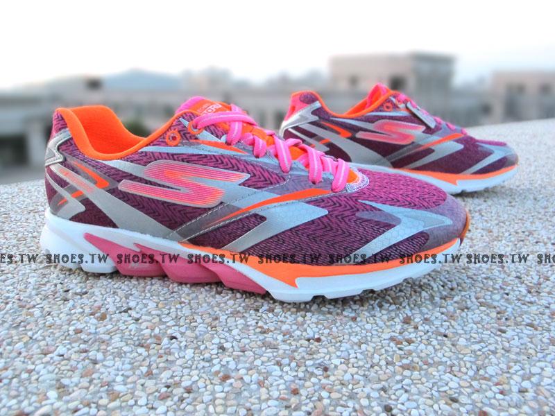 [25.5cm]《降價6折》【13995HPOR】SKECHERS 慢跑鞋 簡嫚書 GO RUN4 桃橘銀 女款
