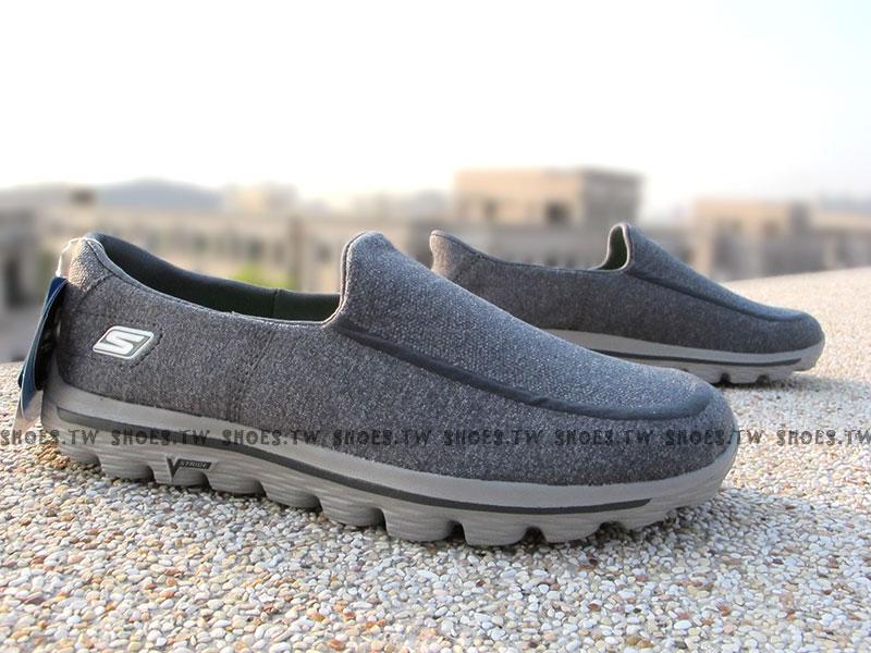 [28cm]《降價7折》【53976CHAR】SKECHERS 健走鞋 GO WALK2 易穿設計 雪花 灰色 男款