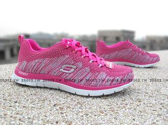 [25.5cm]《降價63折》 Shoestw【12059HPK】SKECHERS 簡蔓書 健走鞋 FLEX APPEAL 記憶型泡棉鞋墊 編織桃