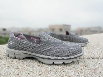 Shoestw【13980CHAR】SKECHERS 健走鞋 GO WALK3 全新Q彈底 灰 網布 瑜珈鞋墊