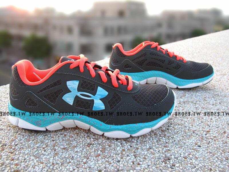 [23cm]《出清6折》 Shoestw【1249532019】UNDER ARMOUR UA 慢跑鞋 MICRO G 大LOGO 灰桃紅藍 潑墨點點 女款