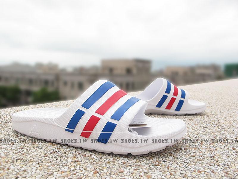 Shoestw【U43664】ADIDAS DURAMO SLIDE 拖鞋 一體成型 白藍紅條 男女都有