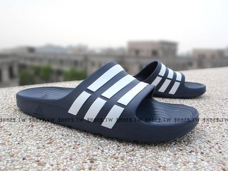 Shoestw【G15892】ADIDAS DURAMO SLIDE 拖鞋 一體成型 深藍白條 男女都有 0