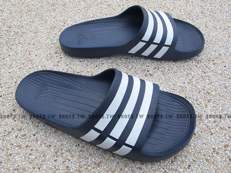 Shoestw【G15892】ADIDAS DURAMO SLIDE 拖鞋 一體成型 深藍白條 男女都有 1