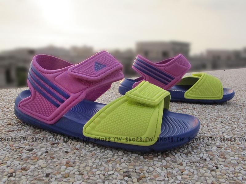 Shoestw【B26061】ADIDAS 童鞋 涼鞋 中童 AKWAH 9 K 紫桃綠
