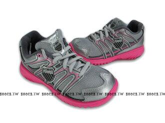 鞋殿【62723058】K-SWISS 童鞋 運動鞋 慢跑鞋 中童 運動鞋 銀粉 女款 有附鞋扣