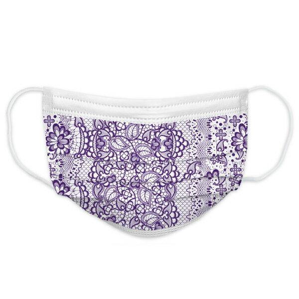 健好 防護口罩 台灣製(有鋼印) 蕾絲 紫色 現貨 平面口罩 成人口罩 50入/盒 3層過濾 熔噴布 貼心使用 (非醫療)