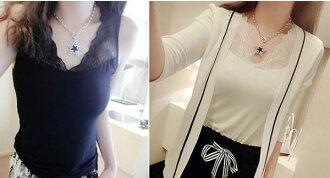 ★草魚妹★H325背心無袖太陽花蕾絲顯瘦內搭外穿打底背心T恤小可愛上衣,售價150元