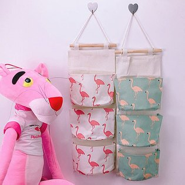 吊掛式火鶴麻掛袋收納袋裝飾袋造型拍照雜物化妝品收納盒居家火烈鳥粉紅鳥歐美ANNAS.