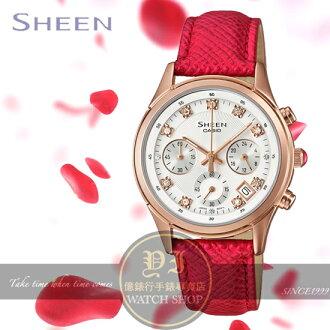 CASIO日本卡西歐Sheen玫瑰花語晶鑽計時腕錶SHE-5023GL-7B公司貨/少女時代/桂綸鎂